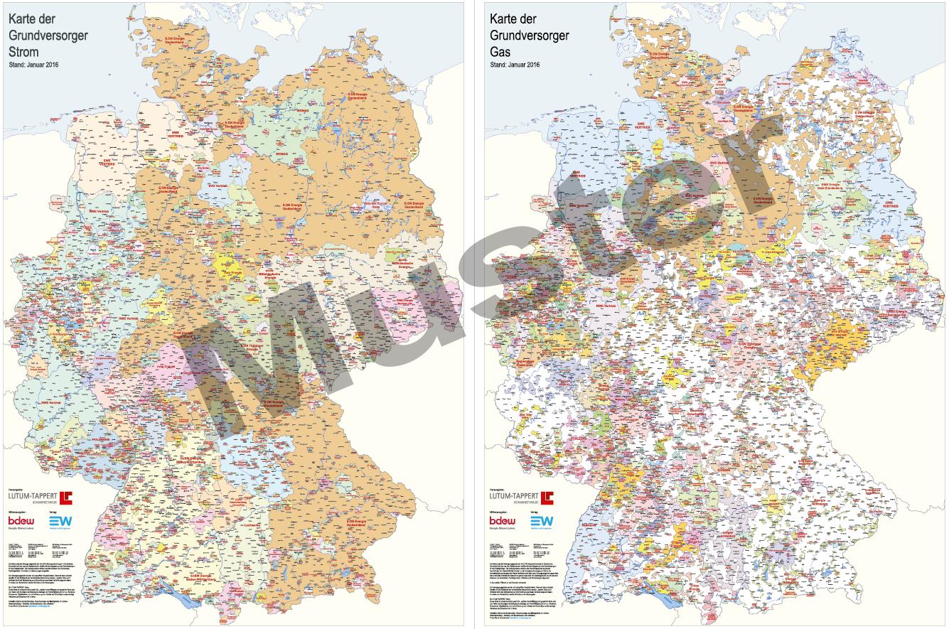 Karten der Grundversorger Strom- und Gas in Deutschland 2016 (print + digital)